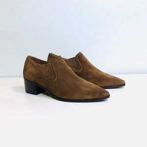 Frye Slip On Western Leather Suede Ankle Boots